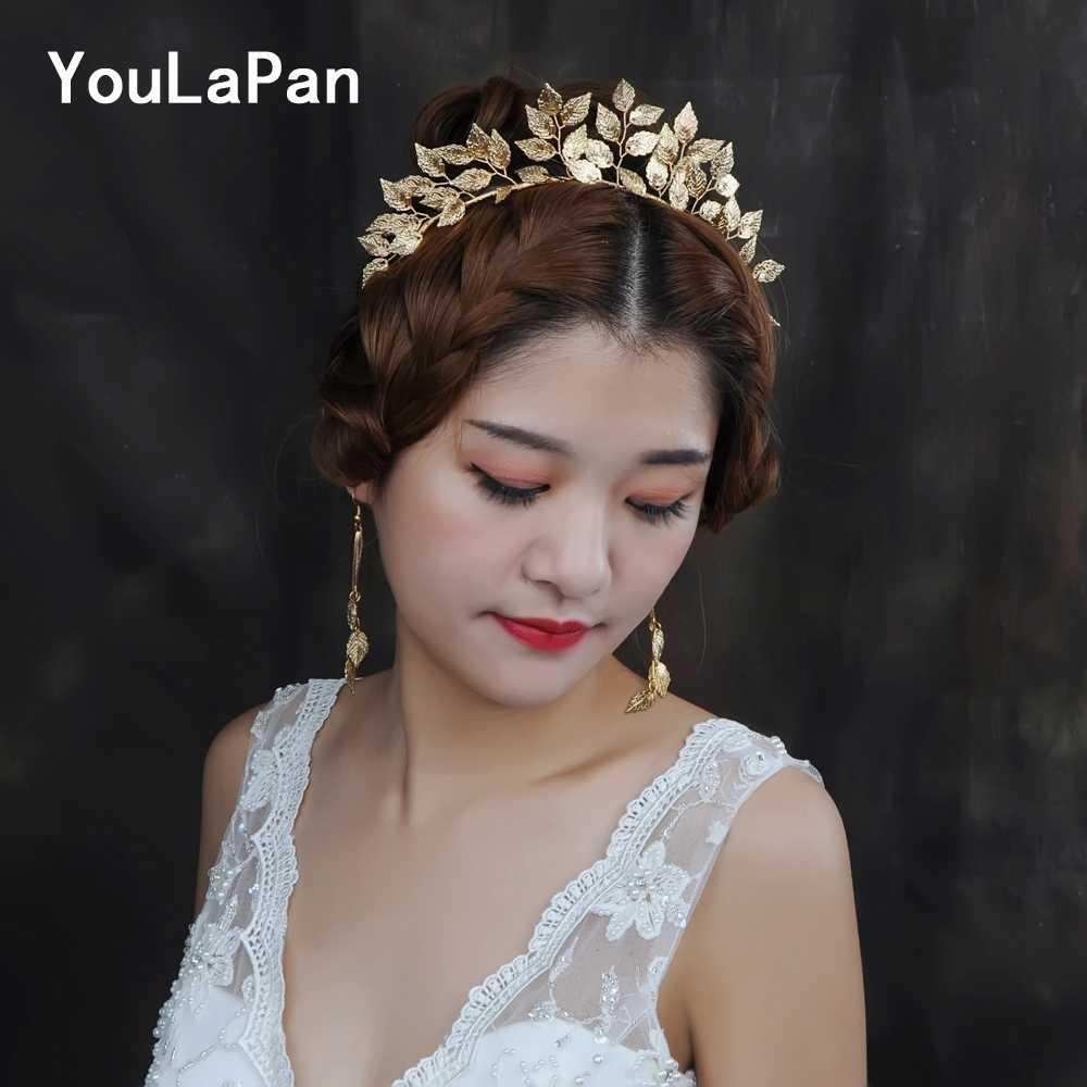 Youlapan HP174 ヴィンテージハンドメイド金箔女性のティアラ結婚式ヘッドドレスヘアアクセサリーブライダル額ジュエル