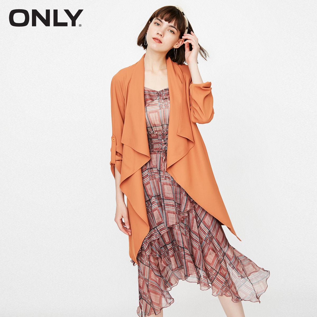 ONLY Spring Summer New Women's Loose Fit Cinched Waist Lace-up Drapery Wind Coat |118336507