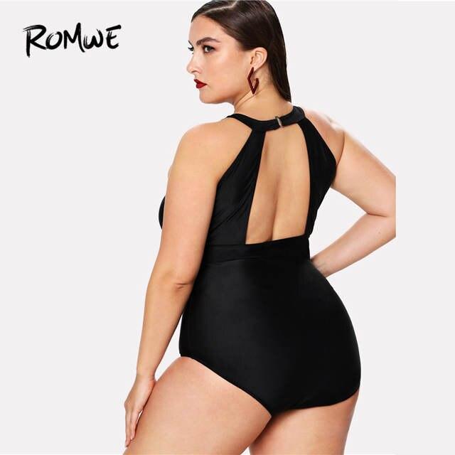 afb7c1f9a3 Romwe Sport Black Polyester Mesh Panel High Neck Summer Swimsuit One-Piece  Bikini 2018 Plus