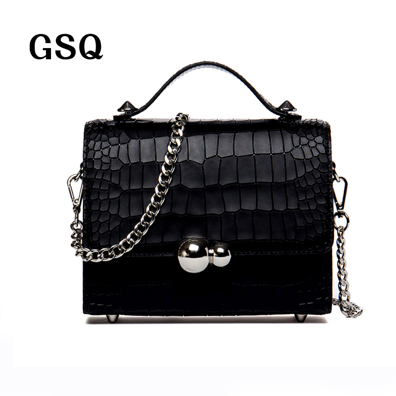 GSQ Genuine Leather Women Shoulder Small Bag Fashion High Quality  Handbag Famous Brand Designer Women Tote Messenger Bags N1217