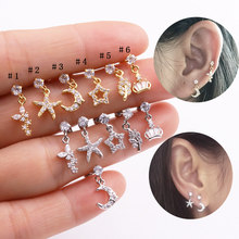 Sellsets 1piece 20g Barbell Sparkling CZ Leaf Star Butterfly Dangle Ear Tragus Helix Cartilage Rook Piercing Daith Earring(China)
