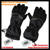 Warmspace 3800MAH Winter Ski USB Electric Lithium Battery Self Heating Gloves Finger/Hand Back Heated,3 gear Thermostatic 6 12h