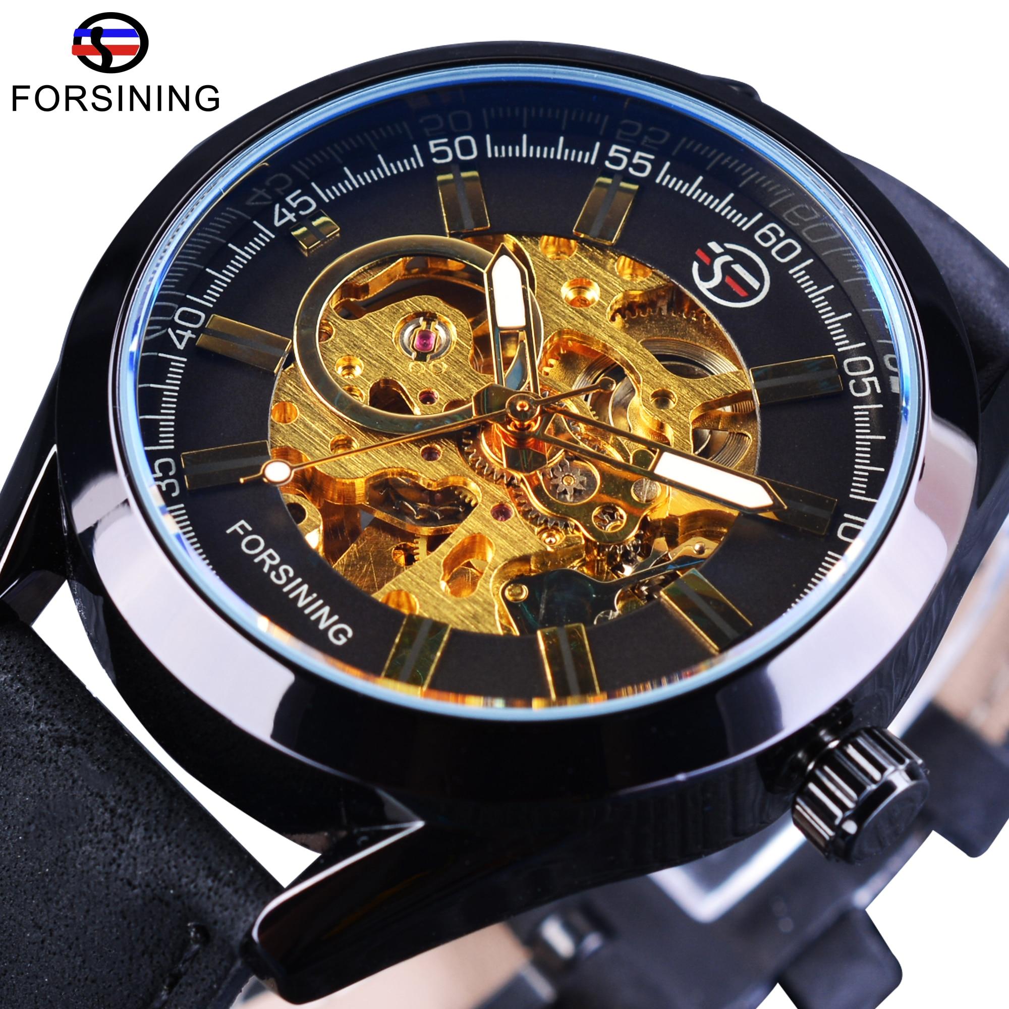 Forsining Casual Sport Waterproof Steampunk Men Watches Top Brand Luxury Transparent Open Work Mechanical Automatic Wrist Watch