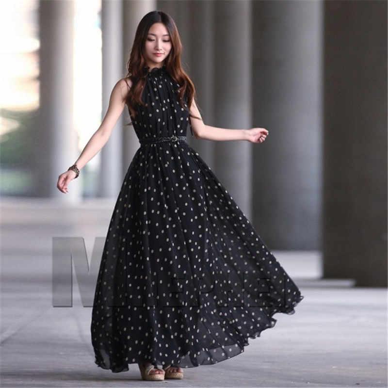 0cbad059f404e5b Для женщин в горошек макси длинные платья Повседневное летние вечерние  шифоновое платье леди Vestidos Новый
