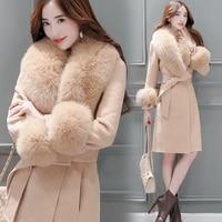 Woolen coat winter coat women 2019 Korean version of the self cultivation large fur collar jackets Wool Coat Jacket Parka 3XL