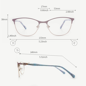 Image 2 - Metal Women Eyeglasses Frame Square Glasses Frame for Myopia 2019 Fashion Lavender Color for Women