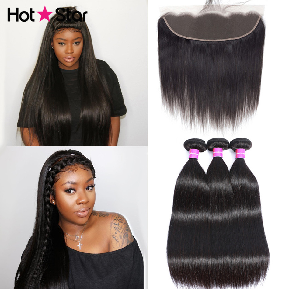 Straight Hair Bundles With Frontal Hot Star Brazilian Human Hair 3 Bundles With Frontal Pre Plucked