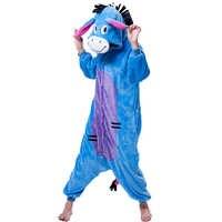 Unisex Onesie Erwachsene Frauen Kigurumi Tier Eeyore Pyjamas Flanell Pyjamas Winter Warme Weiche Onepiece Nachtwäsche Cartoon Overall