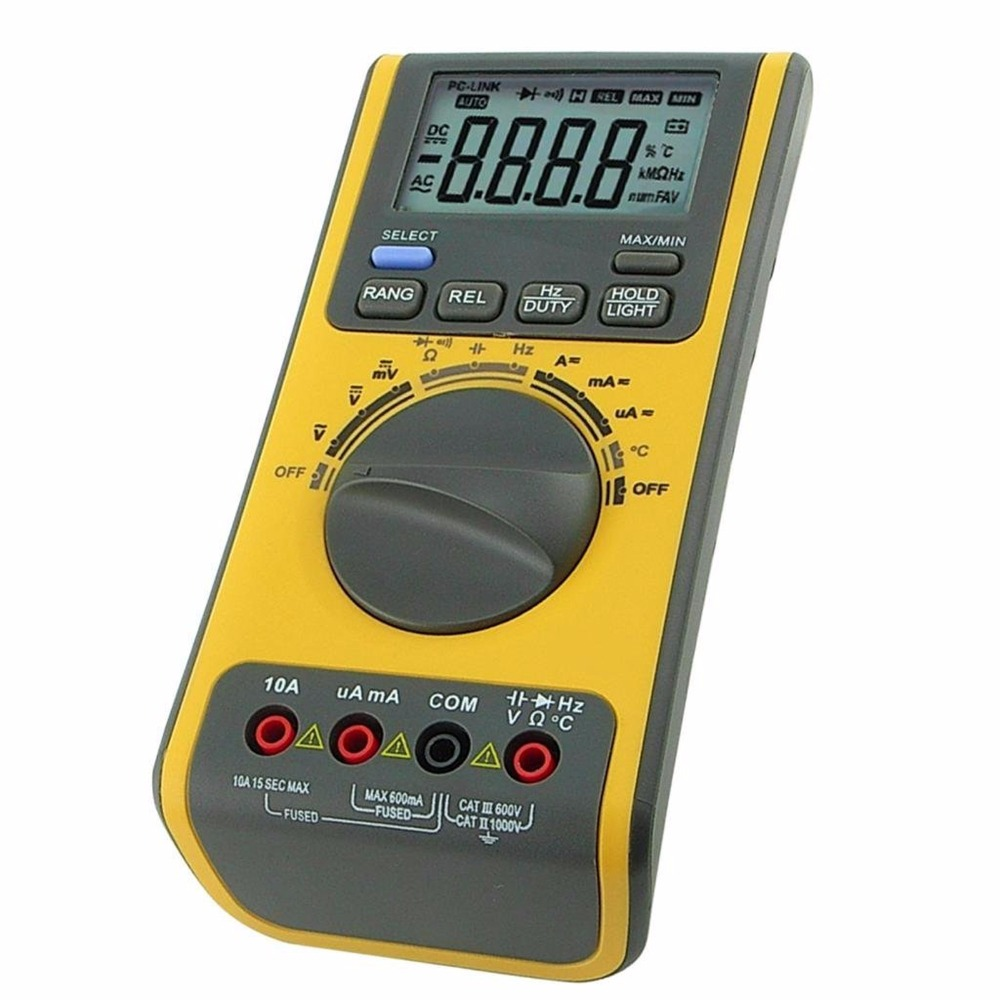 Handheld Digital Auto and Manual Range Multimeter Voltmeter Thermometer Ohm USB/CD BP  with Software and USB cable aimo m320 pocket meter auto range handheld digital multimeter