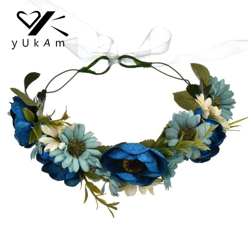 YUKAM Women Girls Party Beach Wedding Hair Accessories Artificial Flower Hair Band Garlands Fabric Flower Wreath Crown Headbands