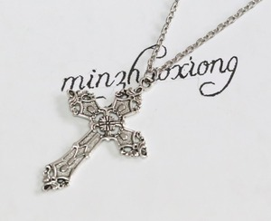 New Vintage Gothic Charms Fashion Antique Silver Alloy Large Cross Wicca Pagan Pendant Chain Necklace Jewelry Gift  (10 pcs)