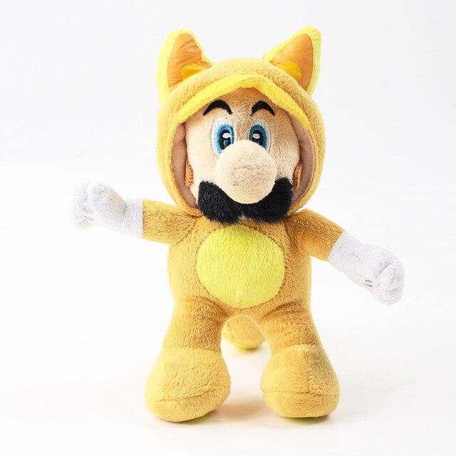 21cm Anime Super Mario Bros Plush Doll Yellow Cat Mario Soft Stuffed