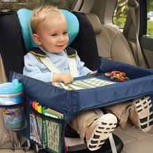 купить Baby Car Seat Child Table Storage Tray Stroller Kids Toy Food Water Holder Desk Children Portable Table For Car New 40*32cm дешево