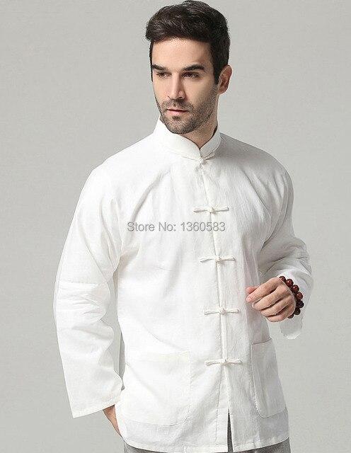 648221b7476df Branco clássico linho de algodão estilo chinês camisa kung fu Bruce lee  wing chun tops t