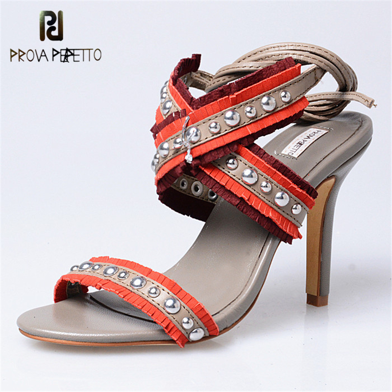 Prova Perfetto Sexy Women Fashion Styles Ankle Strap Cross Tied Thin Heels Sandals Shoes Cow Leather Rivets 10cm Heels Sandals