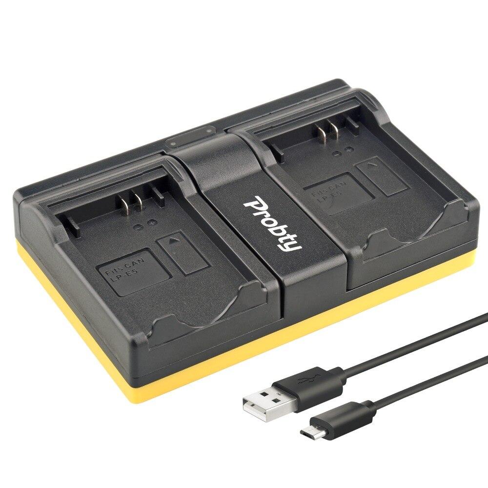 Probty LP-E5 LP E5 USB Double Chargeur Pour Canon EOS Rebel XSi XS T1i 450D 500D BAISER X2 X3