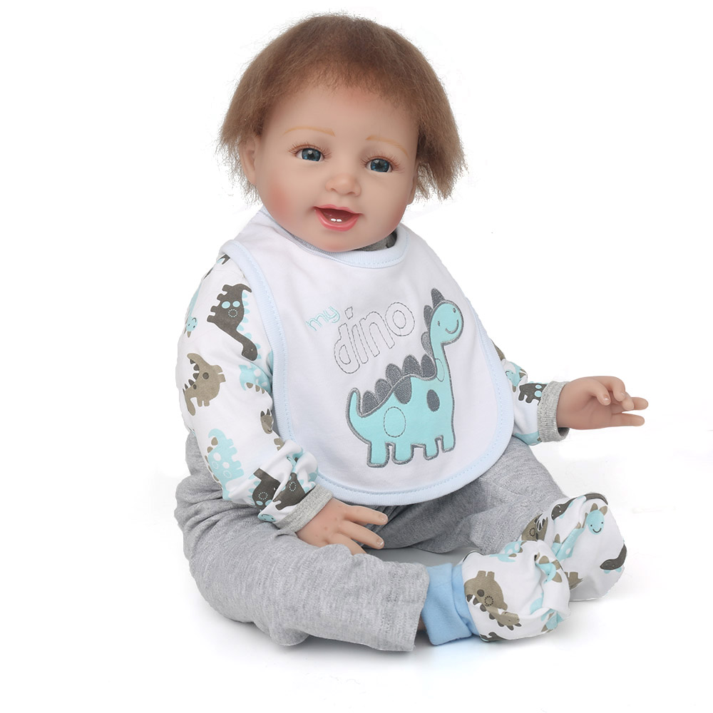 NPK DOLL Reborn Baby Soft Silicone Boy Girl Playmates Rooted Mohair Dinosaur Romper Educational Toys Playful Enjoying Gifts baby dinosaur romper