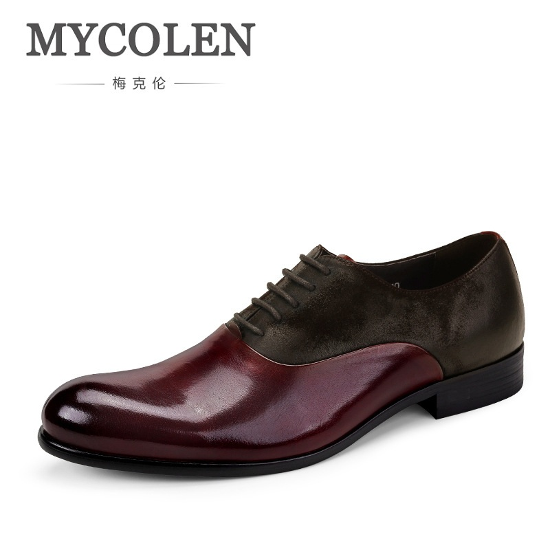 MYCOLEN British Style Men's Business Retro High Qulity Genuine Leather Wedding Dress Shoes Luxury Brand Formal Oxford Shoes Men hot sale italian style men s flats shoes luxury brand business dress crocodile embossed genuine leather wedding oxford shoes