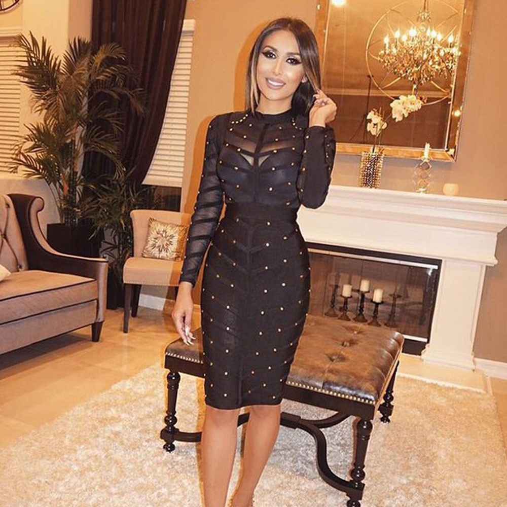 Elegant Black Long Beaded Dress