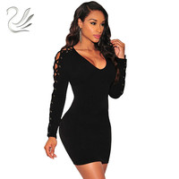 Robes Date Criss Cross Dentelle Up Robe À Manches Longues Noir/blanc Mince Sexy Night Club Wear Moulante Bandage Partie robes