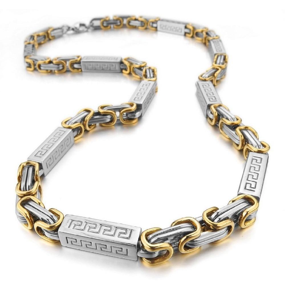 c7b04bd1aea6b Men's Stainless Steel Necklace Byzantine Greek Chain Link Silver ...
