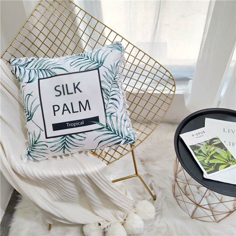SlowDream Nordic Cushon Core Fresh Style Green Leaves Throw Cushion Decorative Pillow Sofa Bed Seat Car Pillow Soft Nap Pillow in Cushion from Home Garden