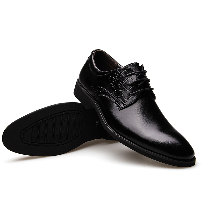 ФОТО 2016 Spring Fall Men Casual Shoes Formal Wearing Genuine Leather Men Shoes Office Lace-up Single Round Toe Wedding Boots Maschio