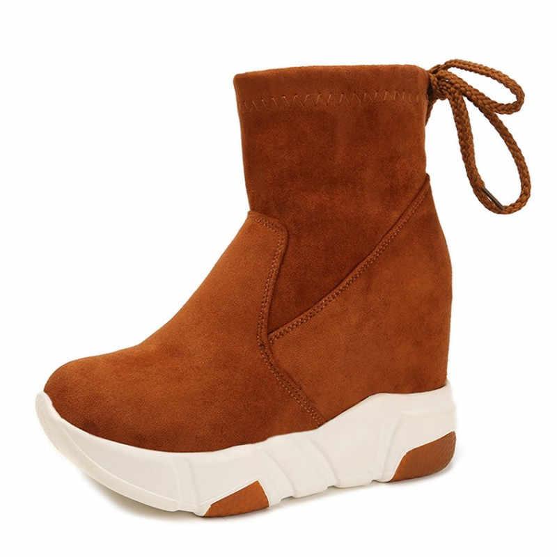 COOTELILI 女性アンクルブーツプラットフォーム靴女性ハイヒールインサイド身長増加フェイクスエードブーツレースアップスニーカー 35- 39