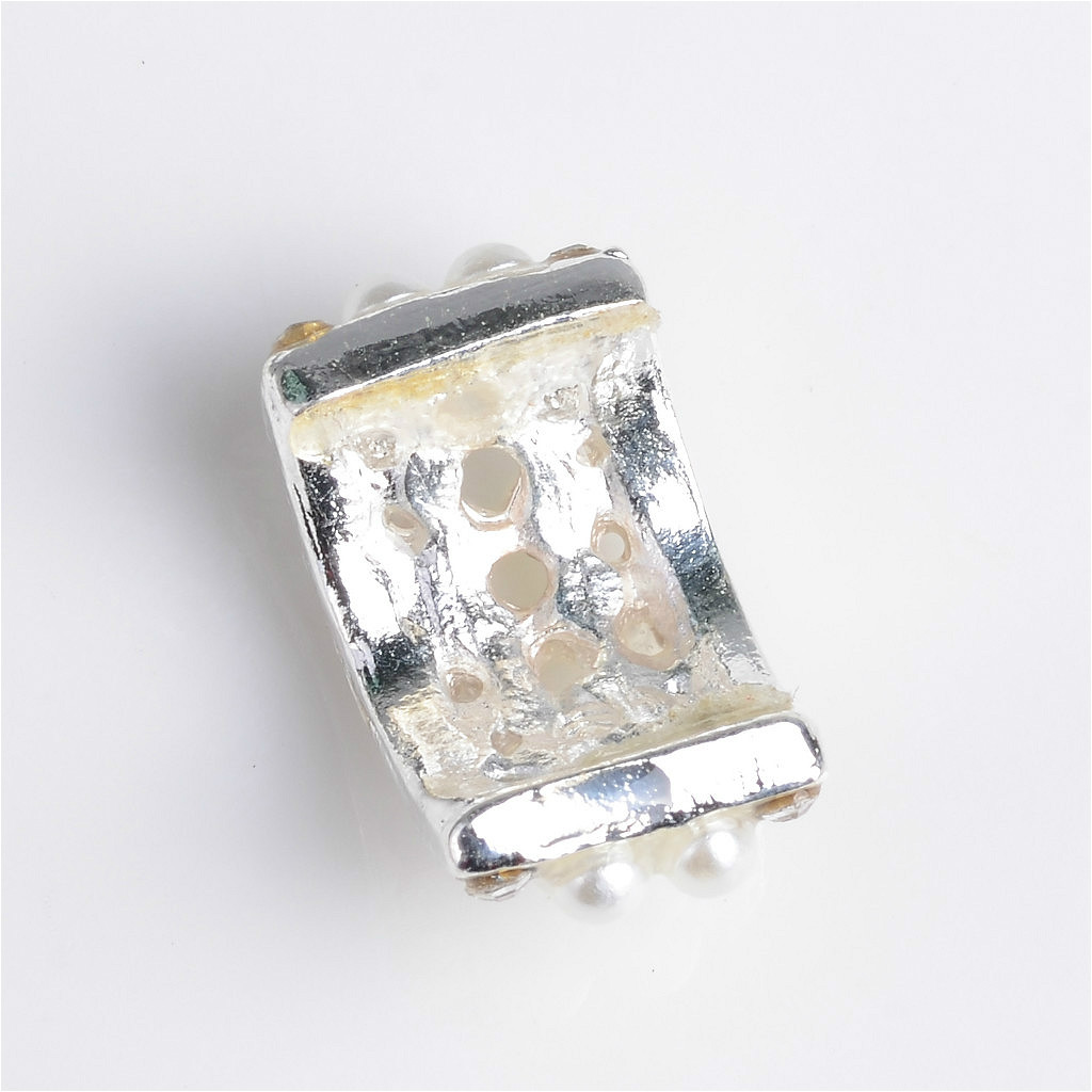 10x Metal Pearl Flower Embellishment Flatback Buttons for Wedding Craft Grey
