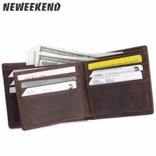 132,Luxury Brand Vintage Design 100% Genuine Crazy Horse Cowhide Leather Men Short Wallet Card Holder Coin Pocket Wallets Purse