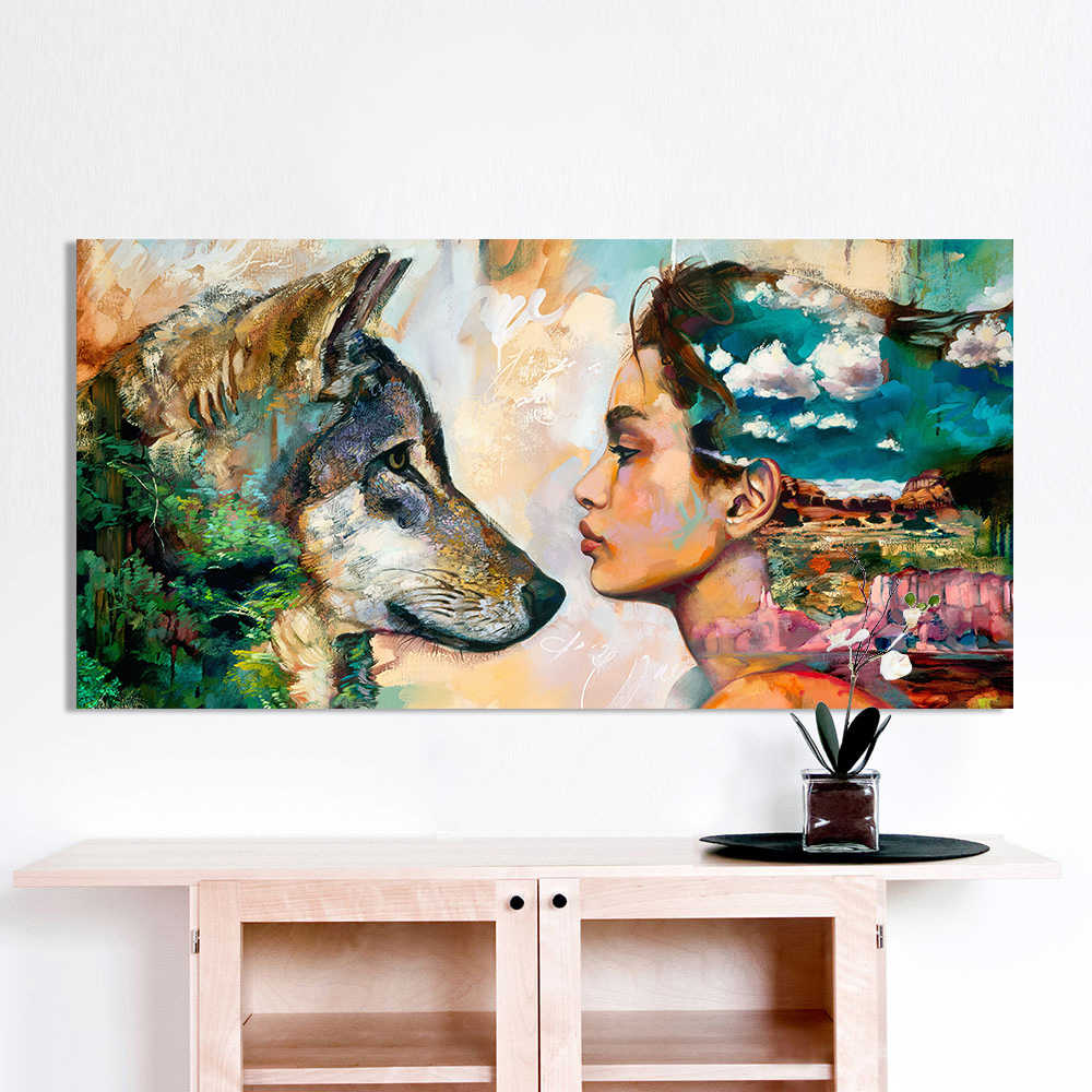 HDARTISAN Wall Art Canvas Animal Figure Painting For Home Decor Wolf and Girl For Living Room No Frame Wall Picture QK2373