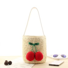 купить Bucket Straw Bags Vintage Cherry Pendant Woven Women Crossbody Bags Shoulder Tote Fashion Beach Bag дешево