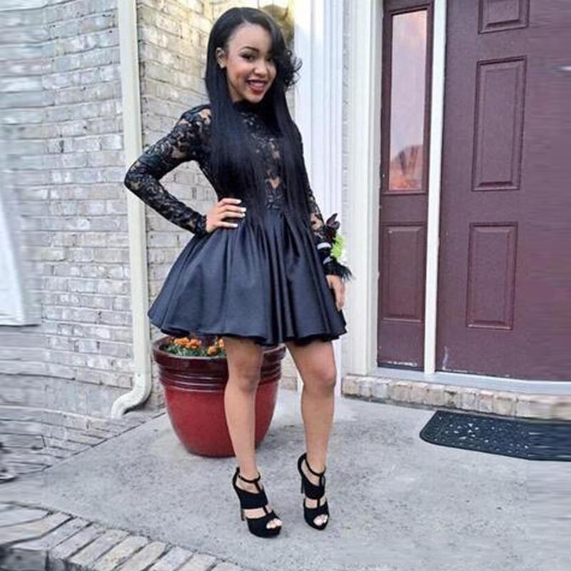 Long Sleeve Black Homecoming Dresses