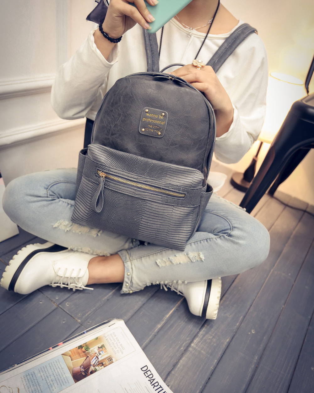 2016 Fashion Brand Women Black Leather Backpack For College Travel Vintage Female Plaid Backpacks Agers School Bags In From Luge On