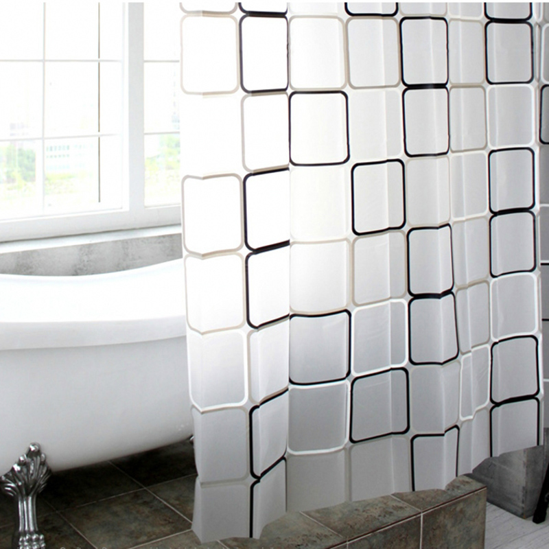 LumiParty 3D Plaid Waterproof Bathroom Shower Curtains WaterProof Transparent Fabric Shower Curtain Thickening Bath Curtain-30