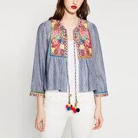2016 Summer Jacket Fashion Women Vintage Embroidery Ethnic Style Short Jacket Long Sleeve Loose Summer Jackets