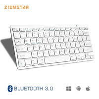 Zienstar Ultra Slim Wireless Bluetooth KEYBOARD For IPAD Iphone Mac LAPTOP DESKTOP PC TABLET English Letter