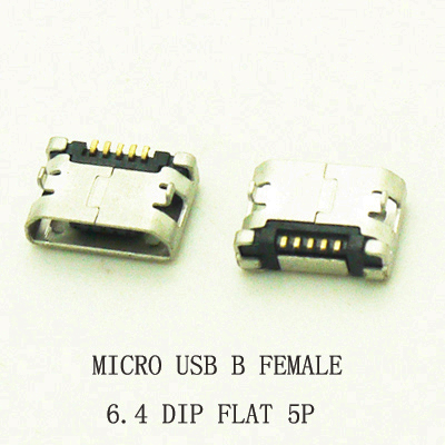 10pcs/lot 5Pin 6.4mm Micro USB 5pin DIP Female connector for mobile phone Mini USB jack PCB welding socket FLAT MOUTH 10pcs lot micro usb connector jack