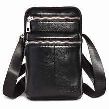 YIANG 2018 New Fashion Cross Body Shoulder Bags For Men Messenger Bag Business Casual Waist Mini Leather Phones Bag 2 Zippers
