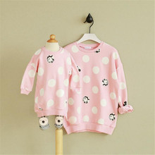 Autumn & Winter Family Clothing Cartoon Print Big Dot Sweater Cotton  Wram Mother And Daughter Dress Casual Long Sleeve Clothes