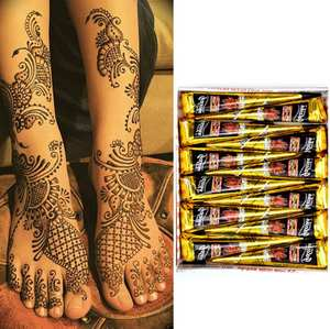 Henna-Cones Mehndi Tattoo Body-Paint Brown Indian Temporary Black Red