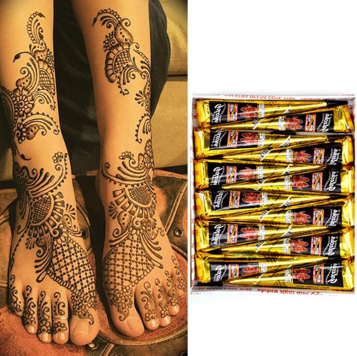 Cones de henna, pasta de tatuagem de henna indiana, azul, marrom, vermelho, branco, para tatuagem temporária, arte corporal, adesivo, pintura corporal Mehndi|Pintura de corpo|   -