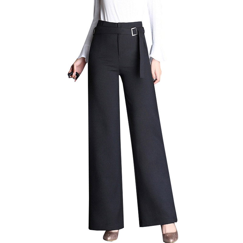 N.XINZHE Zip Up Wide Leg Workwear Pants Women Fashion New High Waist Loose Trousers 2018 Summer Autumn Female Elegant Pants 4XL ...