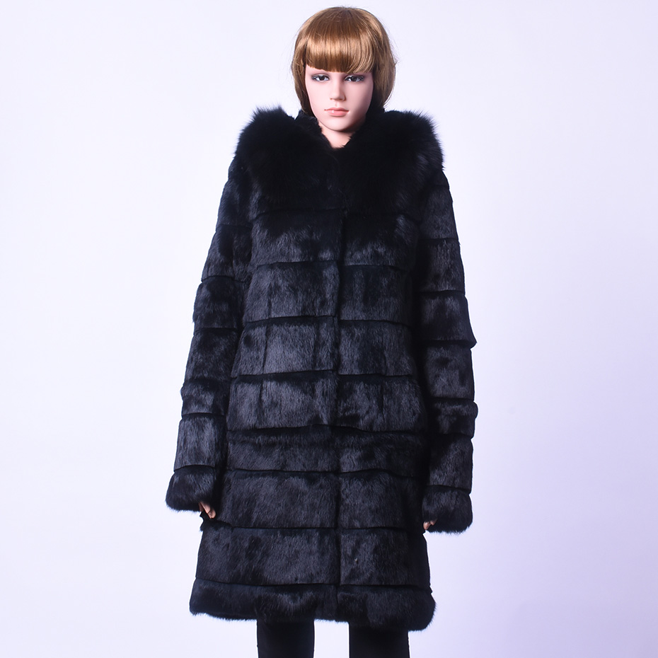 Winter Real Pure Rabbit Fur Fox Fur Collar Long Coat Leisure Time Caps Removable Dual use Fur Coat Full Fur Large Size Jacket