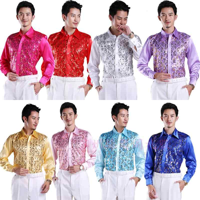 2019 new Men's glittering sequined shirt shirt stage performance clothing dance gala hosted chorus Shirts  high quality
