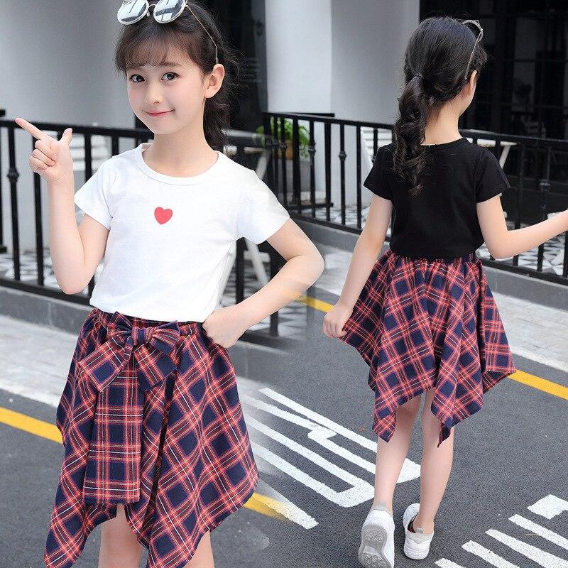 c7fbe85ed043 Girls Clothes Set Fashion Suit For Big Girls Short Sleeve T-shirt +Plaid  Skirt 2 Pcs Summer Kids Clothing For 4 6 8 12 Year Girl