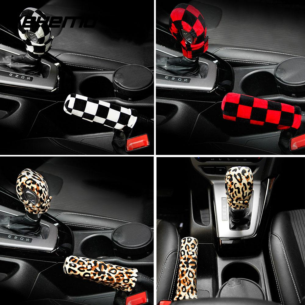 Gear Shift Cover Leopard Print Checkered Stylish Hand Brake Cover Car Case Warm Shift Knob Sleeve Autumn Winter