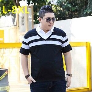Image 1 - 10XL 8XL 6XL 2018 Moda Marka Çizgili Erkek POLO GÖMLEK Kısa Kollu POLO GÖMLEK Mens Yaz Gömlek rahat üst Shirt Erkek Giyim