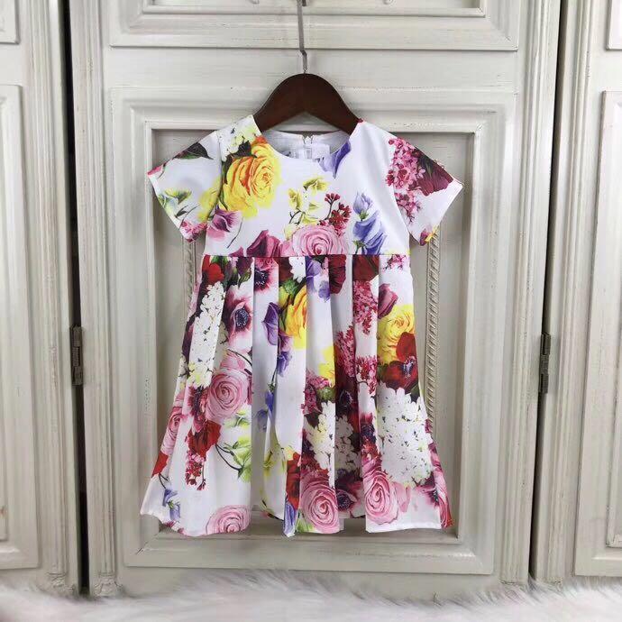 2018 nouveauté été et automne coton Rose fleur Rose robe pour fille enfants fille robe princesse fête robe de bal jupon