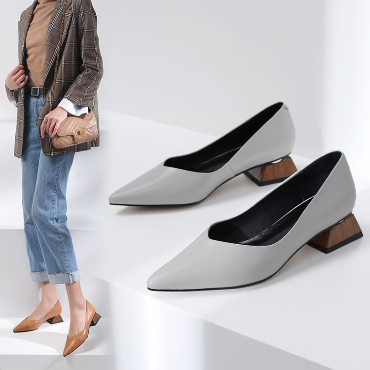 2019 Puntiagudo gris Mujeres Zapatos Genuino Pie Marrón Calzado Dedo Cuero De Planos Del Mocasines Superficial Verano Suaves Casuales Las PUYrP0qn